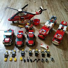 Lego City Fire Rescue Helicopter Trucks Mini Figures Large Lot