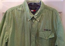 Tommy Hilfiger Tommy Jeans Men's Shirt Short Sleeve Button Green Check Sz XL