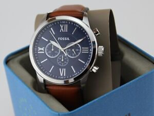 NEW AUTHENTIC FOSSIL FLYNN SILVER BROWN LEATHER CHRONOGRAPH BQ2125 MEN WATCH