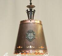 KAISER Decken Lampe Kupfer 60er Kaiser-Leuchten Rustikal Schmiedeeisen Glas