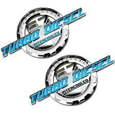 2 PC TEAL/CHROME 6.7 TURBO DIESEL MOTOR BADGE FOR TRUNK HOOD DOOR TAILGATE A