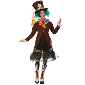 Ladies Mad Hatter Costume Adult Alice Fairytale Fancy Dress Book Day Women Outfi