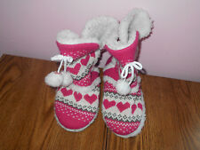 Pink White Hearts Warm Slippers Girls Size Small 5/6