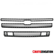 For 2007-2013 Chevy Silverado 1500 Stainless Steel Mesh Black Grille Insert 3PC