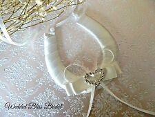 WEDDING BRIDAL HORSESHOE -IVORY  SATIN -DIAMANTE HEART - GIFT POUCH