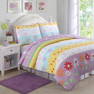 Flower Garden Reversible Girl Quilt Set, Bedspread, Coverlet