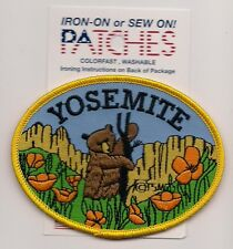 SOUVENIR  PATCH - YOSEMITE, CALIFORNIA - BEAR & POPPIES