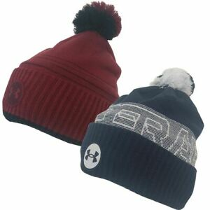 Under Armour Mens UA Truckstop Fleece Pom Pom Beanie Mens Golf Winter Bobble Hat