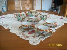 Oriental Vintage 12 Piece Delicate Fine Porcelain China Geisha Teapot Footed Set