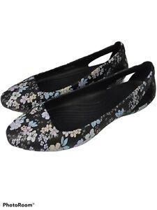 Kadee Tropical Floral Print Crocs Flats 9W