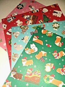 Daiso Japan Christmas Corgi Rabbit Hamster Cat Holiday Origami Paper 12 Sheets