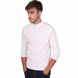 Pure Silk Knit Mens Mock Turtleneck Comfy Top Solid Size S M L XL