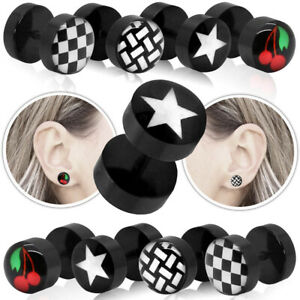 Fakeplugs Fake Plug Tunnel Ear Stud Earrings Cherry Star Checked Pattern Unisex