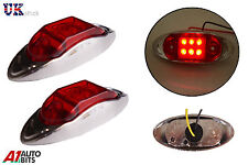 2 pcs 12V 6 LED Side Rear Chrome Bezel Marker Red Lights TRUCK LORRY TRAILER BUS