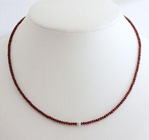 Garnet Necklace Gemstone Fein-Geschliffen Faceted Wine Red 45 CM