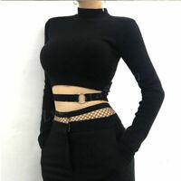 Women Punk Black Crop Top Hollow Out Ring Belt Long Sleeve Slim T Shirt Tee Top