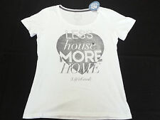 "Life is Good Women's Tee ""Less house more home"" Heart in White -Medium- NWT R$32"