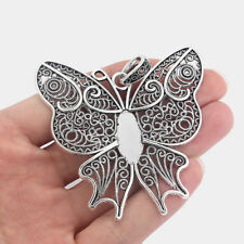 5 Antique Silver Large Butterfly Charms Pendants Blank 22x10mm Cabochon Settings