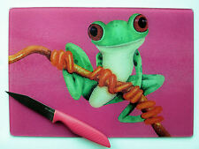 Unique Pink Glass Chopping Board with vibrant Tree Frog design by Maria Moss