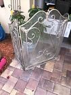 VINTAGE 3 PANEL FIREPLACE SCREEN FRENCH STYLE PRE OWNED SILVER LEAF