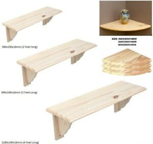 Natural Wood Wooden Shelf Storage Unit Kit & Fitting Wall Mounted Corner Shelves