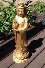 Chinese GOLD GILT  BUDDHA KWAN-YIN Guanyin FIGURE STATUE Signed Antique