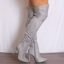 GREY THIGH HIGH OVER THE KNEE LACE UPS STILETTOS HEELED POINTED BOOTS SHOES SIZE