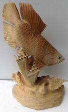 Sculpture solid wood fish Arowana cm 26x10x40 santo divinity Dragon fish
