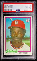 1978 Topps PSA 8 Lou Brock St. Louis Cardinals HOF