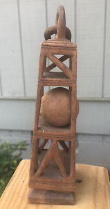 """Vintage Folk Art Hand Carved  Whimsy 7"""" tall Cage 1 Ball Unusual Details"""