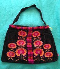 Flamenco Alpamaya velvet floral pompom bag brown RRP £55 & free shawl worth £26
