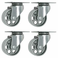 "4 All Steel Swivel Plate Caster 3.5"" Wheels GRAY Heavy Duty Steel"