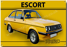 ESCORT RS2000 METAL SIGN. VINTAGE BRITISH CARS.CLASSIC BRITISH  FORD CARS.(A3)