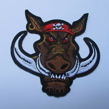 THE BOAR TUSKS EMBROIDERED IRON ON PATCH MOTOCYCLE T-SHIRT JACKET JEAN CAP