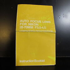 Sears  Auto Focus AF Lens For Nikon 28 - 70mm F3.5 - 4.5 Manual Guide O401346