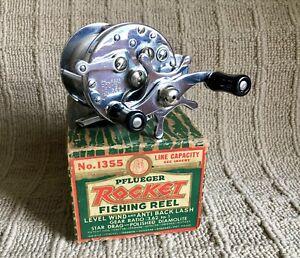 NICE VINTAGE PFLUEGER ROCKET FISHING REEL WITH ORIGINAL BOX #1355