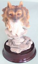 Resin Wolf's Head Figurine on a Wood Base #6f9
