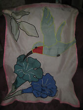 New listing Adorable Decorative Flag - Hummingbird With 2 Flowers - Good Used Condition!