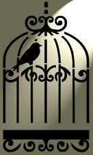 Shabby Chic Rustico Stencil Bird Cage Birdcage Stile Vintage Muro a4 297x210mm