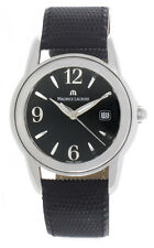 Maurice Lacroix Mens Black Dial Black Genuine Leather Strap Watch SH1018 40mm