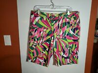 Loudmouth John Daly Golf Shorts Mens Size 36 Bright Pink Green Cotton Spandex