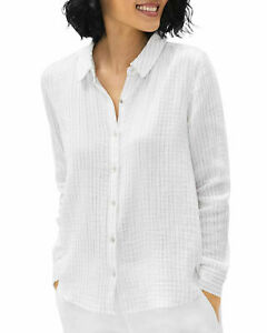 Eileen Fisher Button Down Striped Organic Cotton Gauze Shirt White ~Sz M ~NWT