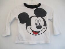 Disney Boy's Size 3T White Mickey Mouse Long Sleeve Waffle Knit Thermal Shirt