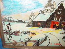 Art,Painting,Original,Foil,Watercolor,Winter,Cabin,Old