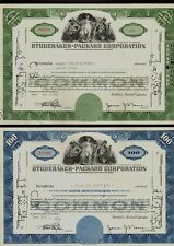 Set of 2 different STUDEBAKER-PACKARD CORPORATION Michigan old stock certificate