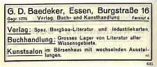 G. D. Baedeker Essen Verlag *  Buch- und Kunsthandlung Historische Reklame 1925