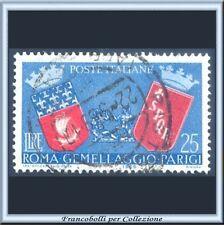 1959 Italia Repubblica Gemellaggio Roma Parigi L. 25 azzurro rosso n. 857 Usato