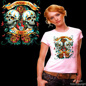 * Biker Gothic Skull  Damen Girl T-Shirt *1182 rosè