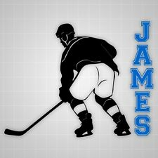 Hockey wall decals,vinyl youth Hockey player wall silhouette sticker name decal