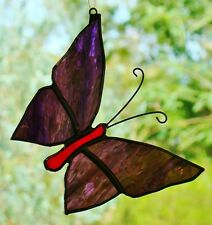 VIOLET PURPLE STAINED GLASS BUTTERFLY Silver suncatcher LEADLIGHT CHRISTMAS GIFT